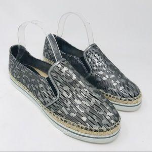 Jimmy Choo Silver Metallic Espadrille Sneakers